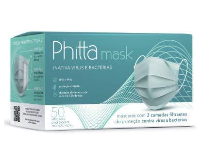 Máscara Phitta Mask Descartável 12 horas de proteção tripla 50 Unidades (1 Caixa)