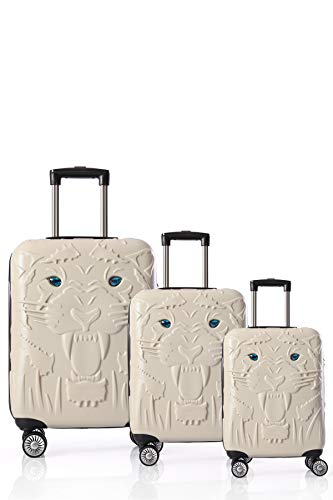 CCS Tiger 8 Wheels Model Suitcase Travel Luggage Bag Lightweight Hardcase ABS White 3pcs Set