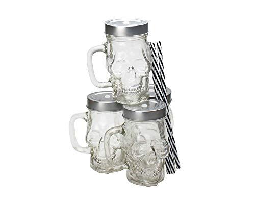 Ard'time EC-4DJMORPOI Cubanios, Juego de 4 jarras en Forma de Calavera de Cristal Transparente, Capacidad: 330 ml