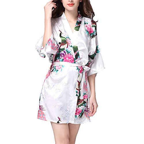 KKCD Bademantel Simulation Silk Nightgownsommer Sleeve Peacock Pyjamas Bademantel Frauen Large Size Home Anzug,H,M