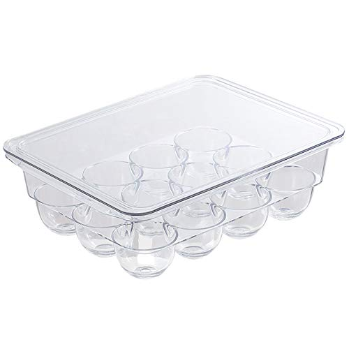 Apofly Huevo contenedor de Almacenamiento de la Bandeja de Huevos Nevera portalatas cajón Organizador de la Caja Transparente Cajas de cartón de Huevo plástico con Tapa de 12 Hoyos Suministros Cocina