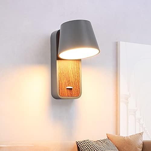 BarcelonaLED Aplique de Pared LED de Lectura Gris con Interruptor en Base de Madera Foco Orientable de 6W 2700K para Cama Cabecero Salón