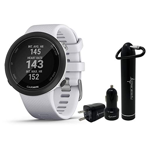 Garmin Swim 2 GPS Swimming Smartwatch with Wearable4U Power Pack Bundle (Whitestone)