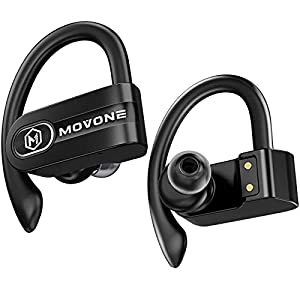 MOVONE True Wireless Earbuds Sport Bluetooth Headphones with Wireless Charging Case Premium Deep Bass Earphones Over Ear…