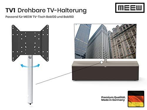 TV-Halterung (nur für MEEW-Möbel), geschliffenes Aluminium, 360°drehbar, extrem hochwertig, Made in Germany, Vesa: 200x200, 300x200, 300x300, 400x200, 400x400