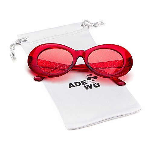ADEWU 2018 Gafas de sol Oval Clout Goggles Retro Kurt Cobain con lentes Glitter para mujeres Hombre