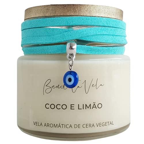 Vela Aromatizada Perfumada de Cera Vegetal Coco e Limão - Bendita Vela