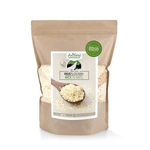 AniForte Barf Zusatz für Hunde Reisflocken 1kg - Naturprodukt, Barf Einzelfutter, glutenfrei, Flocken ohne künstliche Zusätze, 100% Natur zum barfen, Futter