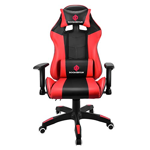 Boomersun Gaming Stuhl Racing Stuhl, Ergonomischer Bürostuhl Stuhl, Drehstuhl Racer Gamer Stuhl PC Stuhl, mit Wippfunktion, Einstellbarer Neigungswinkel, Einstellbare Armlehne (Rot, Ohne LED-Licht)
