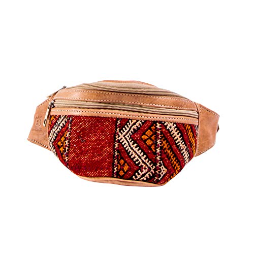 BINOAR - Riñonera de Piel con diseño de Kelim Marruecos