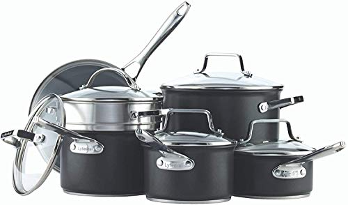 Lyfedral Paderno 12-Piece Hard Anodized Cookware Set | Cooking pots and Pans Set with Covered Steamer
