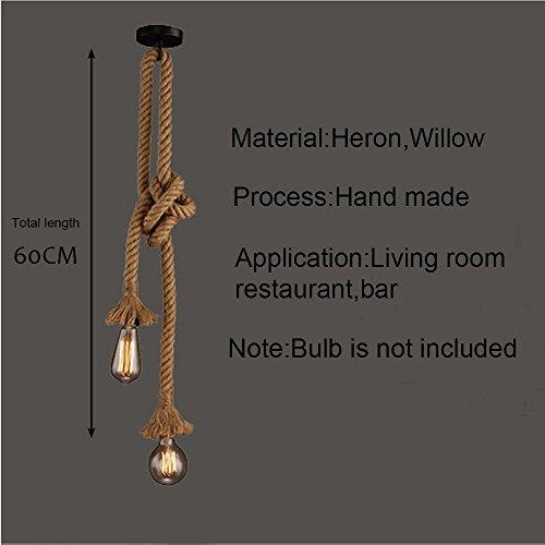 Lámpara colgante industrial, STARRYOL cuerda doble de cabeza de cáñamo...