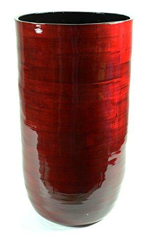 Vase en bambou Rouge foncé, HxØ : env. 52 x 28 cm, matériau naturel laqué brillant