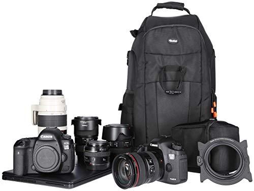 Rollei Fotoliner Slingbag I Kamararucksack für kleine DSLR und DSLM Kameras I als Handgepäck I Daypack I inkl. Regenschutz und Tablet-Fach I Schwarz