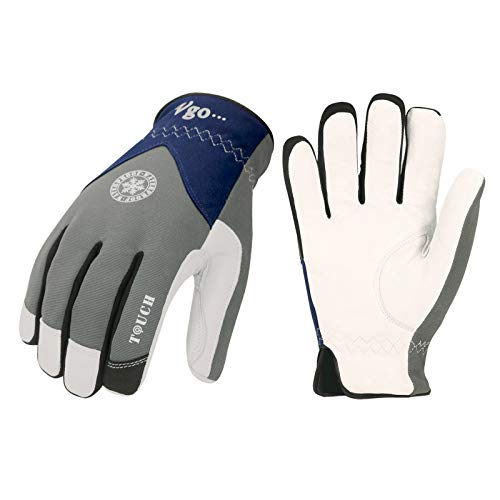 Vgo 2-Pairs 32? or Above 3M Thinsulate C40 Goatskin Leather with waterproof membrane Winter Gloves (Size L, Grey, GA8977FW)