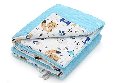 EliMeli Babydecke Kuscheldecke junge Krabbeldecke 75x100 | Ultraweicher Gestreifter Microfaser-Plüsch Stoff aus Baumwolle | Füllung | hoch Qualität | ideal als Kinderwagendecke (Blau - Waldtiere)