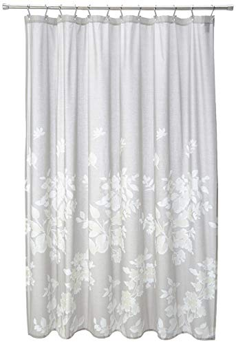 Madison Park Marian 100% Cotton Printed Floral Modern Cute Bathroom Shower Curtain, 72X72 Inches, Grey