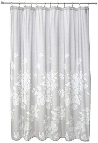 Madison Park Marian 100% Cotton Printed Floral Modern Cute Bathroom Shower Curtain, 72X72 Inches, Grey