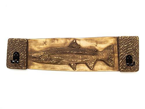 Wandhaken mit Fisch Verzierung Stahlkopfforelle 100 cm - Handgefertigtes Angelzubehör aus Lindenholz & Metall - In der Slowakei hergestellt - Stilvoller Garderobenhaken, Angler