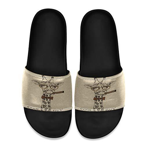 SLHFPX Vector Illustration of Giraffe with Cigar Men's Leather Slide Sandals Summer House Slippers Wide Boys