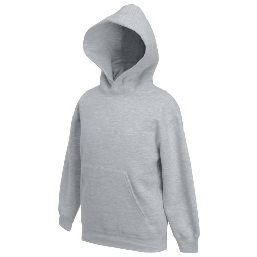 Fruit of the Loom Kids\' Hooded Sweat, Heather Grey, 152