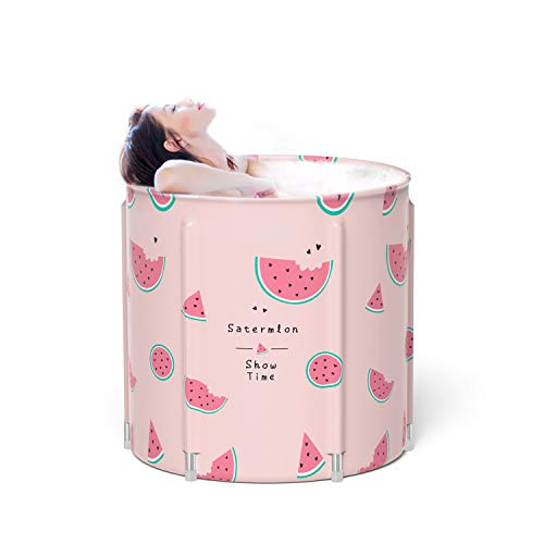 Portable Foldable Bathtub, 26 Inches Separate Family Bathroom Spa Tub, Soaking Standing Bath Tub For Shower Stall, Efficient Maintenance Of Temperature, Ideal For Hot Bath Ice Bath (watermelon)