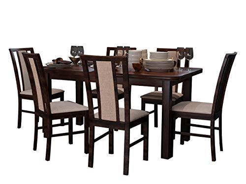 Mirjan24 Esstisch mit 6 Stühlen DM60, Esstischgruppe, Sitzgruppe, Esszimmer Set, Küchentisch, Esstisch Stuhlset, Esszimmergarnitur, DMXZ (Nuss/Nuss Inari 23)