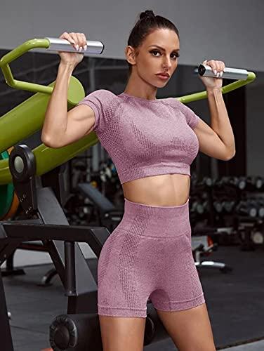 ML S HJDY Pantalones Cortos Deportivos para Mujer Sujetador Sin Fisuras para Ropa De Yoga Atlético Ropa De Gimnasio 2Pcs,Púrpura,L