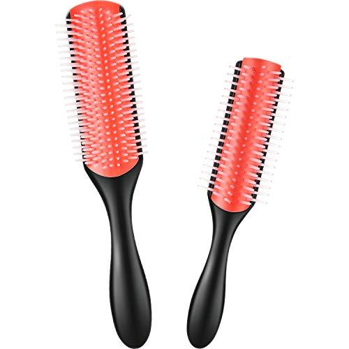 2 Cepillo de Peinado de Cerdas de Nylon con 9 Hileras Cepillo para Desenredar Cabello Rizado de 9 Hileras y Cepillo de Pelo de Viaje de 5 Hileras para Separar, Dar Forma, Definir Rizos, Desenr
