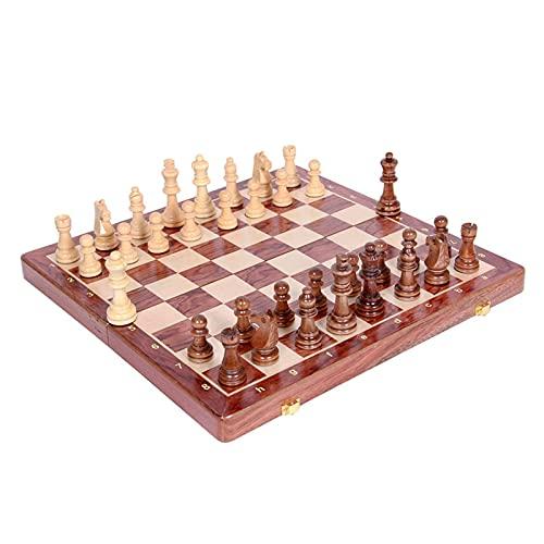 Flystoo Juego de ajedrez de Madera Juego de Placa Plegable Juego de ajedrez Grande Solid Besseboard Board Games Travel Chess Juego Conjunto de cumpleaños Regalo (Color : A)
