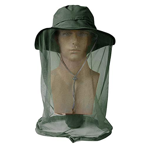 ayamaya Mosquito Bug Net Hat, Men/Women Wide Brim Safari Fishing Summer Sun Protection Hat with Face Neck Cover Head Cover Netting from Insect Bug Bee Bucket Hat Cap Green