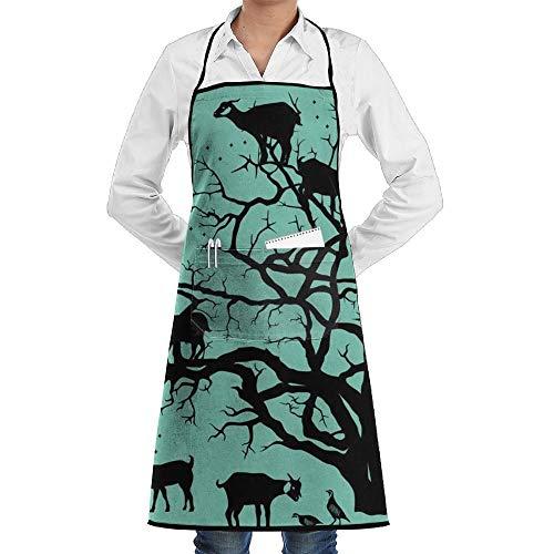 Delantal de babero de cocina de árbol de argán de cabra con cuello ajustable para cocinar, hornear, jardinería