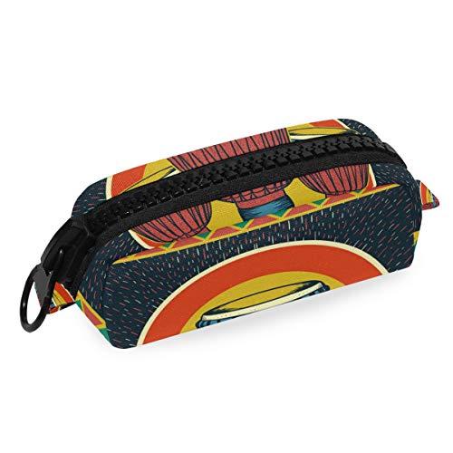 FAJRO Djembe Estuche africano para pintar lápices, cosméticos, maquillaje, cosméticos, bolsa de...