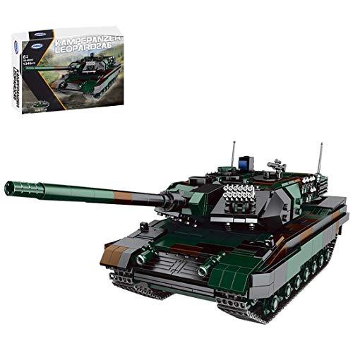 Modelo de tanque de bloque de construcción, conjunto de tanque militar alemán Leopard 2A6, 1346 bloques de construcción de abrazadera Compatible con tecnología Lego (Originalverpackung)