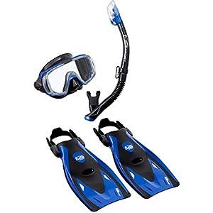 Tusa Visio Tri-EX Adult Snorkeling Set Kit - Mask, dry snorkel, fins, bag