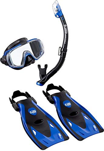 TUSA, Visio Travel snorkelset, duikbril, duikmasker, droogsnorkelzwemvliezen, tas voor volwassenen