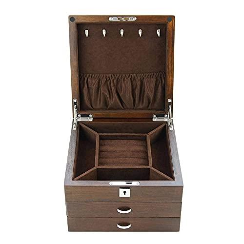 JIANGCJ Bella Mujeres Solid Wood ELM Jeweltery Caja de Almacenamiento Organizador con 3 cajones Partición para Pendientes Pulseras Anillos Relojes Relojes Caja Joyero Caja Organizador Caja