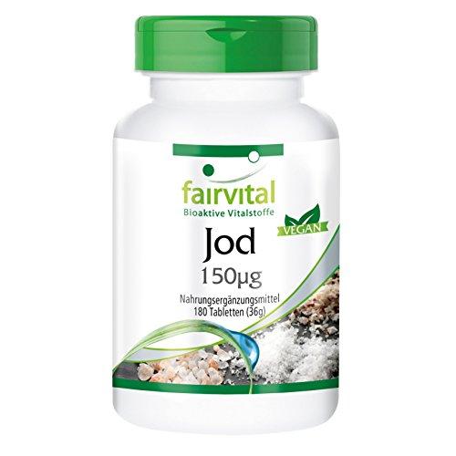 Yodo - 180 Comprimidos - Altamente concentrado (150 mcg) - De yoduro de potasio - Calidad Alemana