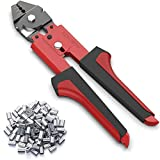 Crimping Tool, Wire Rope Crimping Tool, Up To 2.2mm Swager Crimper Fishing Wire Crimping Tool with 100 PCS Aluminum Double Barrel Ferrule Crimping Loop Sleeves Kit with Cutting Function for Cable
