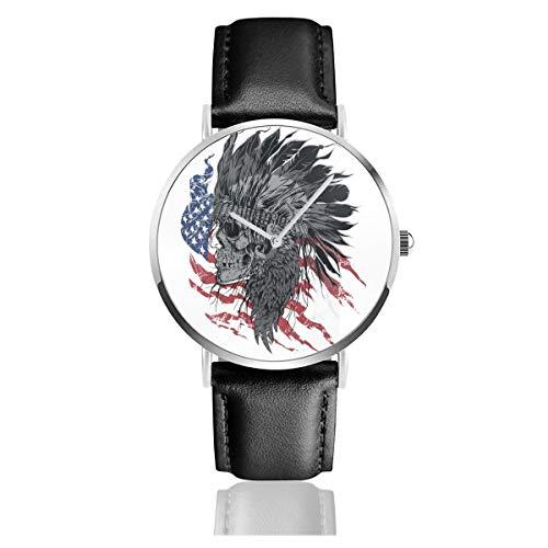 Unisex Business Casual Indianer Chef Skull Flag Uhren Quarz Leder Armbanduhr mit schwarzem Lederband für Männer Frauen Young Collection Geschenk