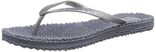 Ilse Jacobsen Damen Sandalen flach | Flip Flops mit Riemen | Schuhe mit Sohle aus Bast | Glitter Look | CHEERFUL01,Grau (Grau (006)),36 EU