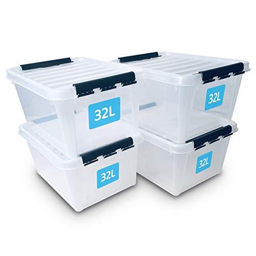 SmartStore Cajas de almacenaje 32L (pack de 4), reforzadas, transparentes, 10 años garantía, cierre de clip, cajas apilables, encajables, para comida, sin BPA, 50 x 39 x 26 cm (La.xAn.xAl.)