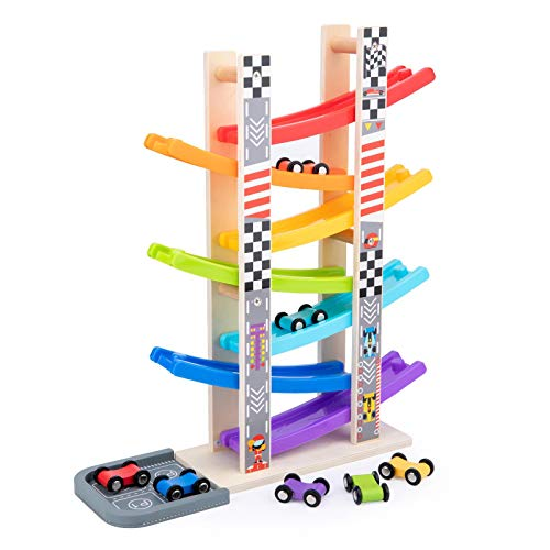 WOOD CITY Toddler Toys for 1 2 3 Years Old, Wooden Car Ramp Racer Toy Vehicle Set with 7 Mini Cars & Race Tracks, Montessori Toys Craft Gift for Toddlers Boys and Girls