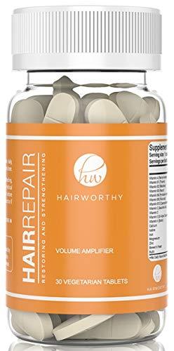 Hairworthy Hairrepair Tabletten – Gezonder, Voller & Meer Volume. Gist van de Brouwerij en Biotine voor Snelle & MERKBARE Resultaten. Één Vegetarische Tablet Per Dag. Krachtig Haar-, Huid- & Nagelsupplement