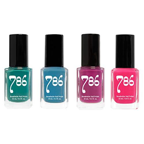 786 Cosmetics Nail Polish Set - Vegan, Cruelty-Free, Halal Nail Polish, 4 Full Sized Nail Polishes (Bold Set)