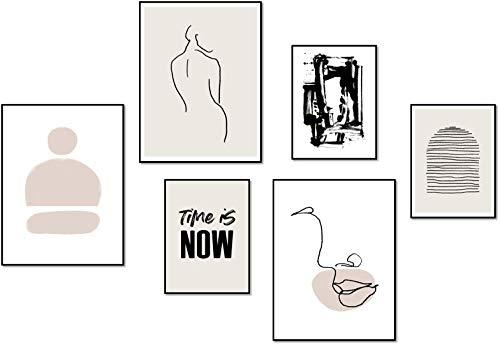 ELAFI® Premium Große Poster 6er Set | Schöne Poster Wohnzimmer | Poster Set Abstrakt Stil | 3X A3 (30x40cm) und 3X A4 (21x30cm)