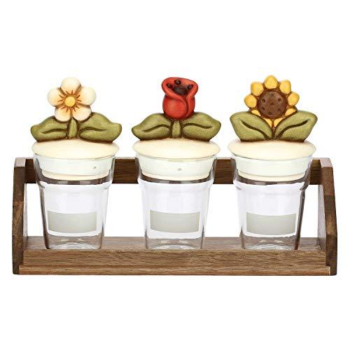 THUN - Set Barattoli Cucina per Zucchero, Sale, caffè, Biscotti o Spezie, Decorati con Fiori - Accessori Cucina - Linea Country - Vetro - Barattolo 7 h cm