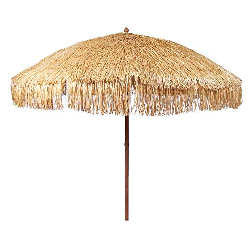 iConcern Pointed End 6.5 ft. Hula Thatched Tiki Umbrella Natural Color Hawaiian Style Beach Umbrella, Including Portable Fabric Carry Bag (Hula).