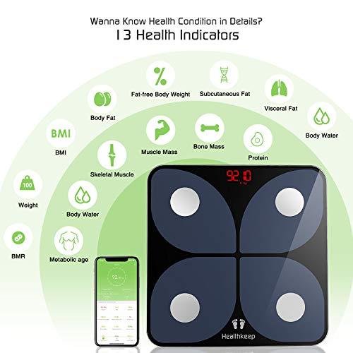 41s38iuAc2L - Báscula de Baño Digital Báscula Inteligente Báscula Grasa Corporal Bluetooth, Wireless Báscula Analizar Más de 13 Funciones, Monitores de Composición Corporal Máximo 180 kg para Andriod e iOS (Negro)
