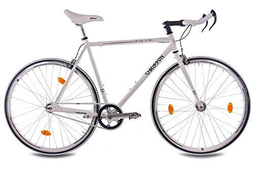 CHRISSON - Bicicleta de 28 pulgadas Vintage Fixie Singlespeed Retro Old Road 1.0 Bullhorn Blanco – Urban Old